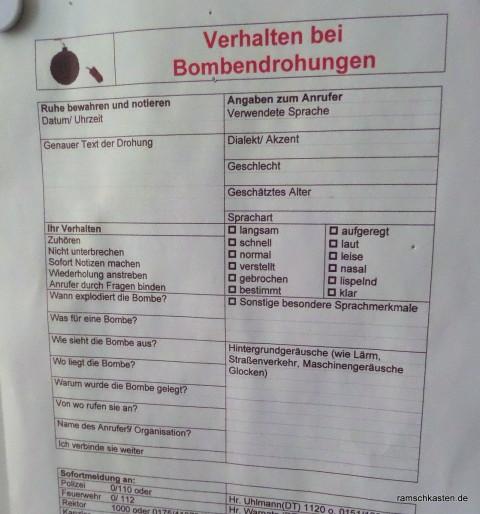 Checkliste zum Verhalten bei Bombendrohung